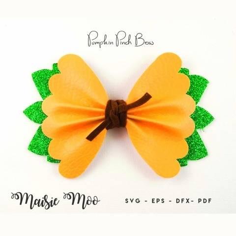 Scalloped Pinch Bow SVG, Pumpkin Halloween Bow Template