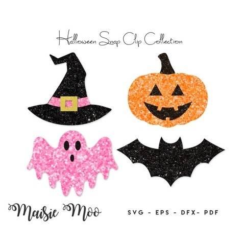 Halloween Snap Clip SVG, Bat Pumpkin Witch Ghost Snapclip