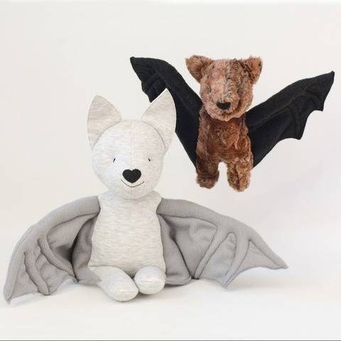 Bat plush stuffed sewing pattern, small and large
