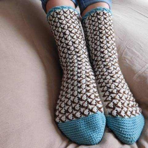 Mint Chocolate Chip - crochet socks