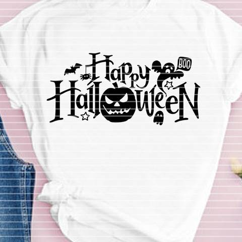 "Cutting file ""happy helloween"" for Ironing-picture SVG DXF"