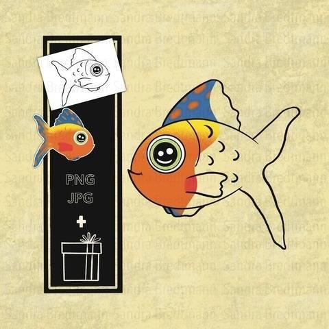 Fisch digi Stamp digitaler Stempel + Überraschung