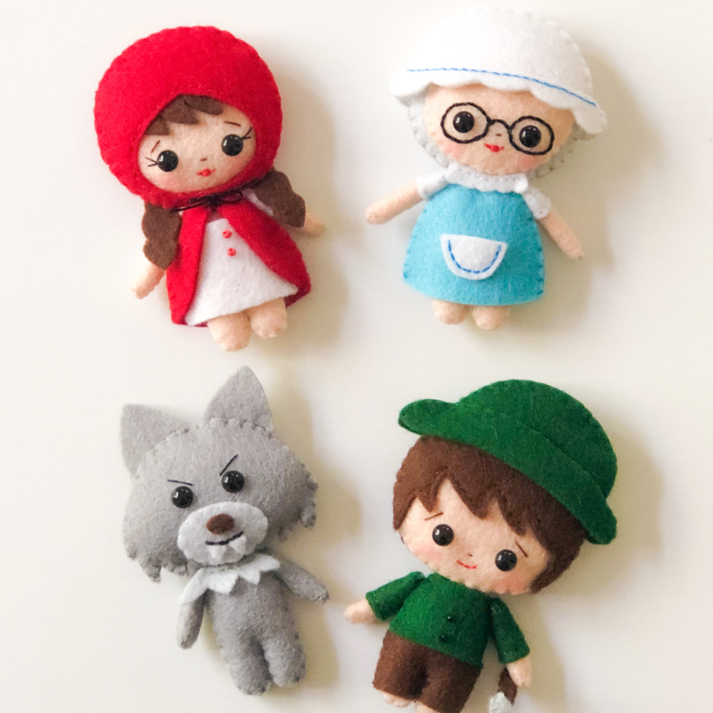 The Little Red Riding Hood characters PDF&SVG pattern