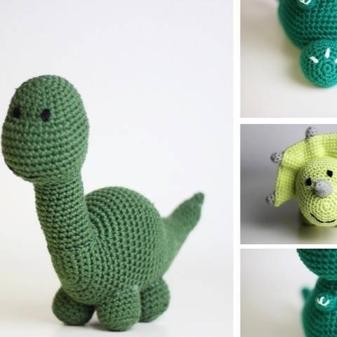3 x Crochet Pattern - Amigurumi Dinosaurs  at Makerist