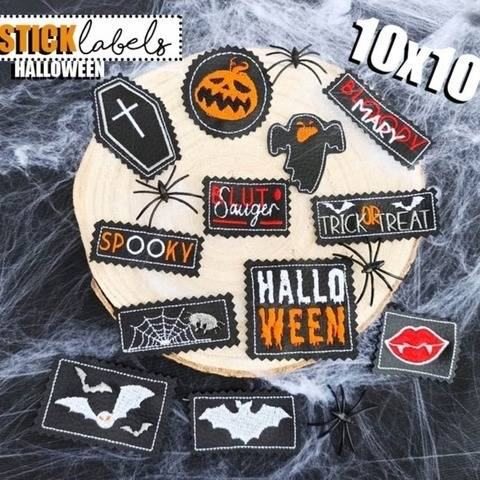 Stickdatei #Label Halloween 10x10 Rahmen