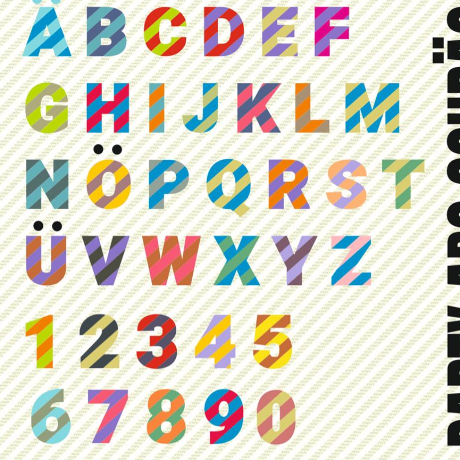 GESTREIFT schräg ABC mit A bis Z und 1 - 10