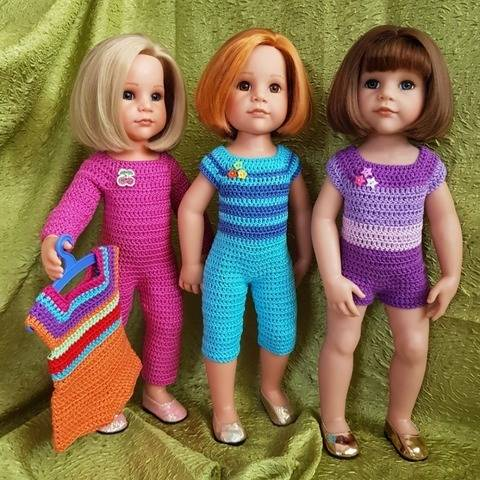 Crochet pattern Doll Jumpsuit for dolls 18""