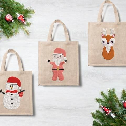 Santa, Snowman and Deer  - Embroidery Files - 4x4 inch at Makerist