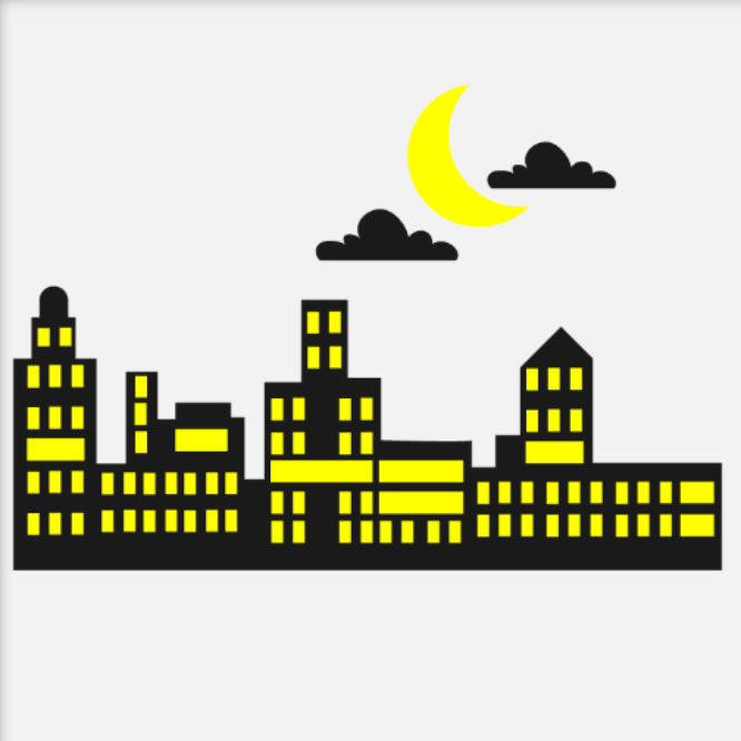 City Skyline with Moon and Clouds - Cutting File