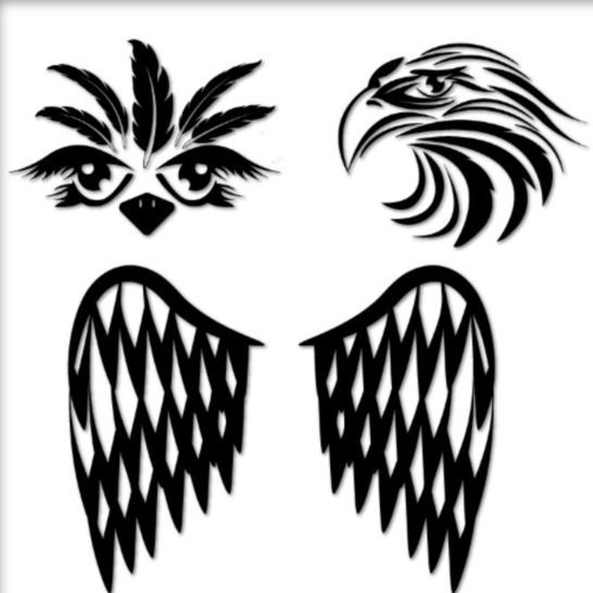Ostrich, Eagle and Wings - Tattoos - Cutting File at Makerist - Image 1