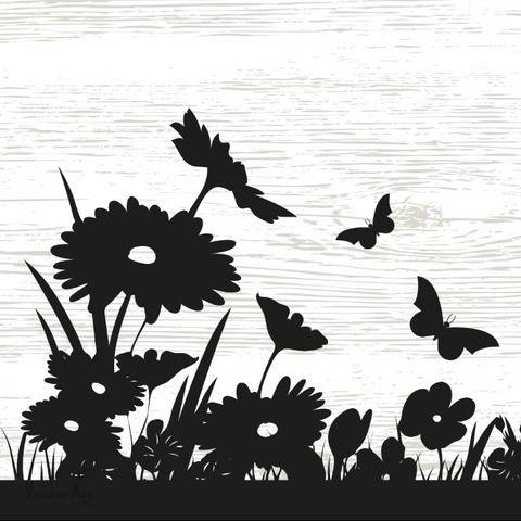 Beautiful Flower Meadow  - Wall Decal - Cutting Files
