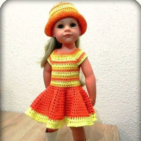 "Doll outfit ""Dear Hannah"" dress und hat crochet pattern"
