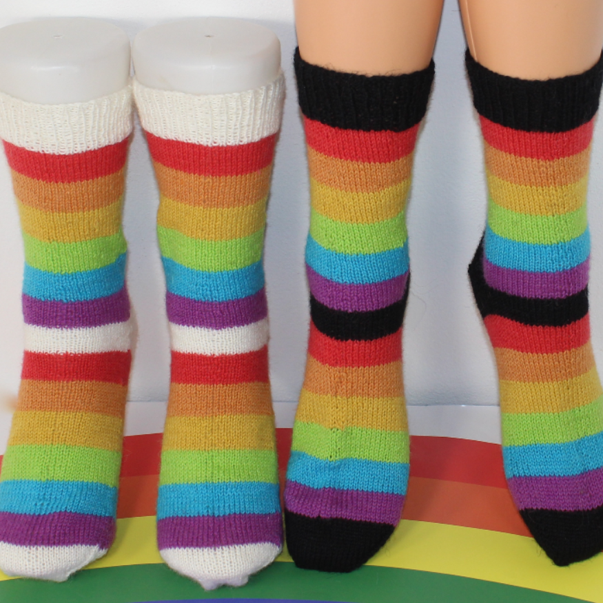 Ladies Simple Rainbow Socks Circular