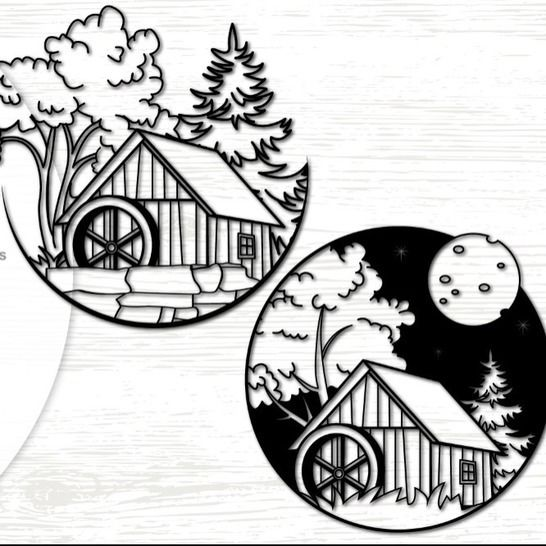 Watermill in the woods - Cutting File at Makerist - Image 1