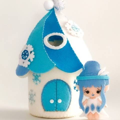 PDF SVG felt pattern winter Fairy house castle with elf