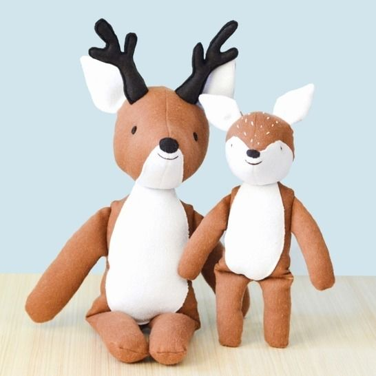 Sewing pattern and tutorial, stuffed deer and fawn plush at Makerist - Image 1