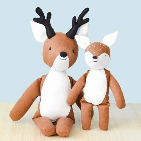 Sewing pattern and tutorial, stuffed deer and fawn plush