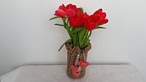 Häkelanleitung Vase/Windlicht Tischdesign No.2