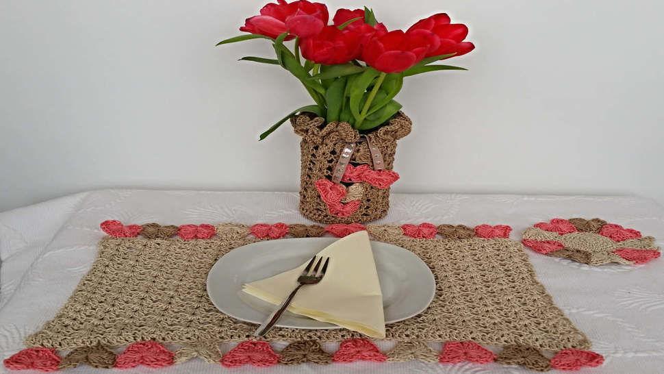 Häkelanleitung Tischdeko Set No.1 bei Makerist - Bild 1
