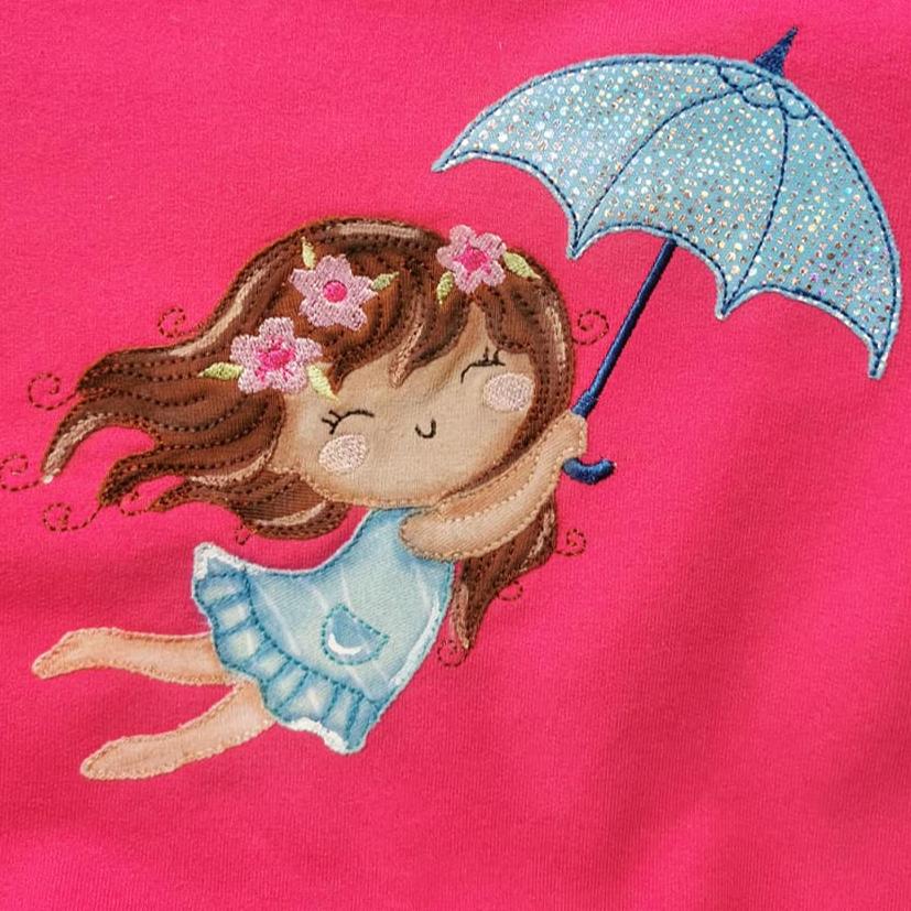 stickdatei mädchen fliegt mit regenschirm nähmariechen