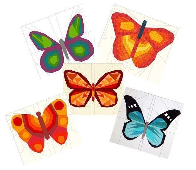 5 Schmetterlinge - Paper Piecing Vorlagen bei Makerist - Bild 1