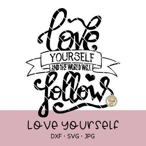 "Lettering ""Love yourself"""