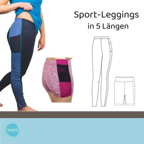 Sport-Leggings in 5 Längen Gr. 34-50
