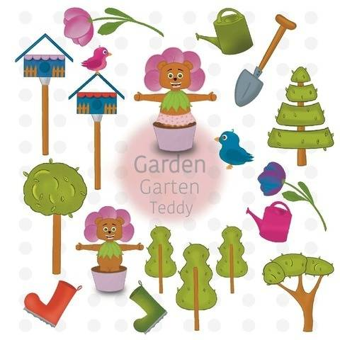 Teddy Bär Garten Sticker Clipart printable