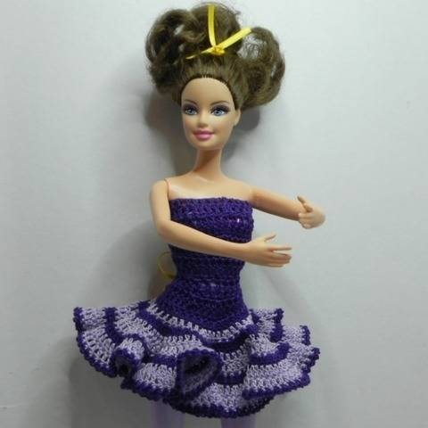 Ballerina dress for 12-inch doll crochet pattern