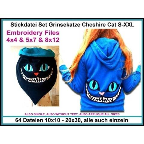 Stickdateien Set Grinsekatze Cat Cheshire Alice 64xab 10cm