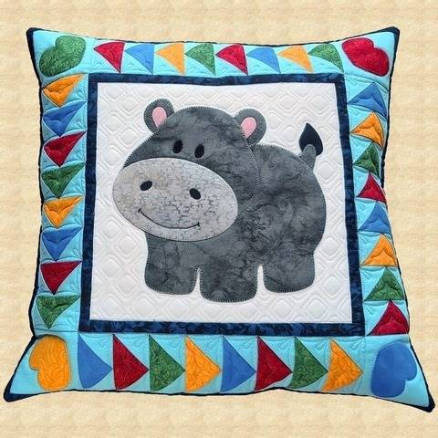 Happy Hippo Quilted Pillow Pattern