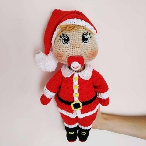 Doll crochet pattern in Santa outfit
