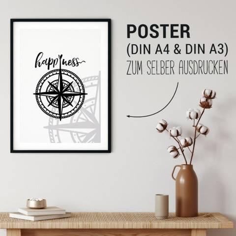 Poster | Happiness Kompass | zum selber ausdrucken