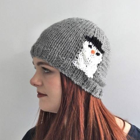 Hat knitting pattern - toddler to large adult - Snowman