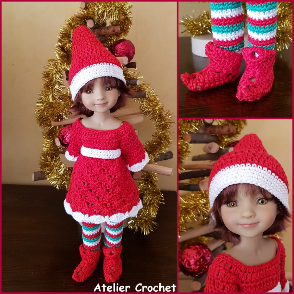 """Lutin de Noël"" patron crochet poupée Fashion Friends"