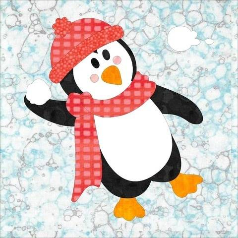 Penguin Promenade Appliqué Block #8 Pattern