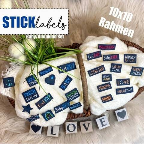 Stickdatei #Label MINI MEGA SET 10x10 Rahmen