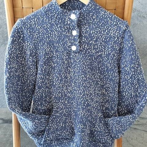 Lady and man's sweater with pocket and buttoned neck- Dale