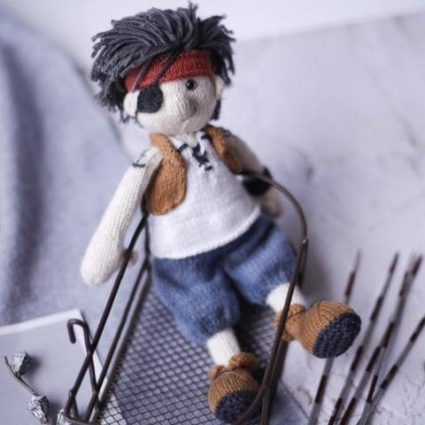 Doll knitting pattern - knitted Pirate doll Jackie