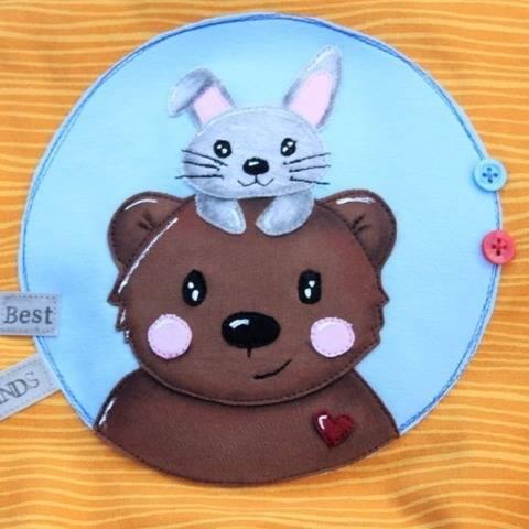 Applikationsvorlage Kuschelfreunde - Bär und Hase