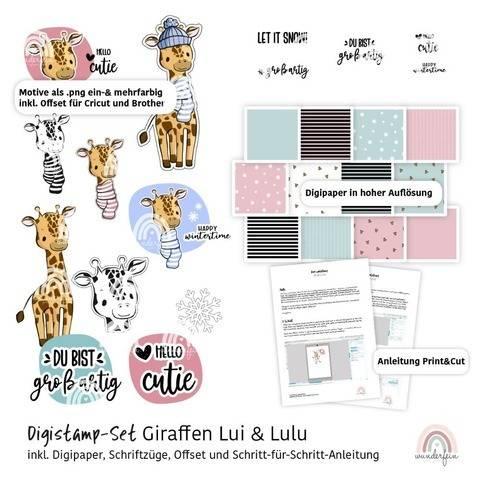 Digistamp Giraffen Lui & Lulu – inkl. Digipaper + Anleitung