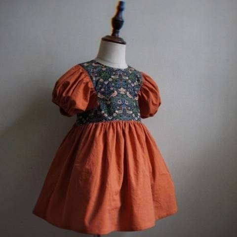 Vintage Dress with puffy balloon sleeves Strawberry thiefs