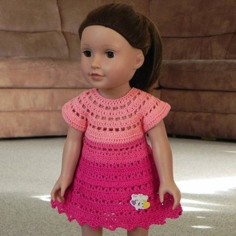 "Crochet pattern for 18-inch doll dress ""Pink cloud"""