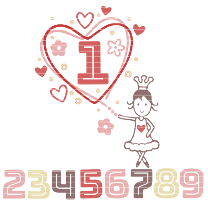 "Cutting File ""Numberheart 1-9"" Ironing-picture SVG DXF"