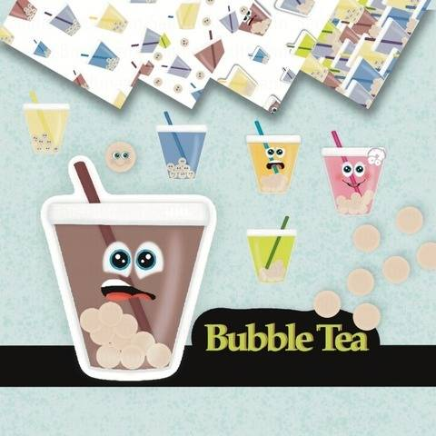 Bubble Tea, Perlen Milch Tee, Boba Boba, Kawaii Cartoon,