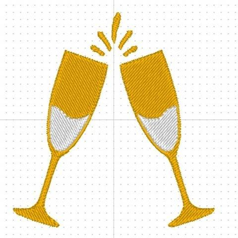 Motif broderie machine CHAMPAGNE COUPES en 10x10 cm
