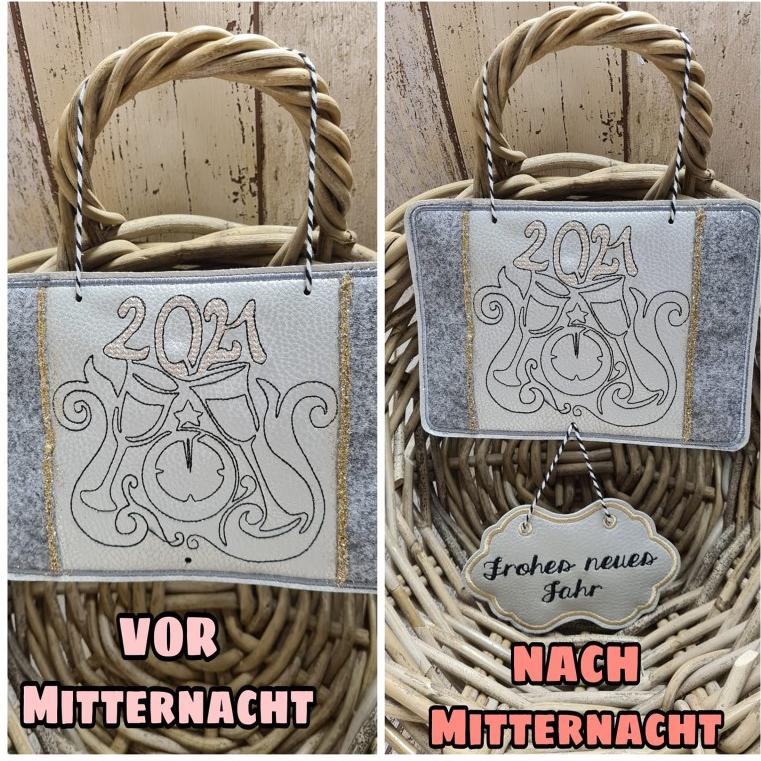Stickdatei ITH Willkommen 2021 Türschild & Mug Rug