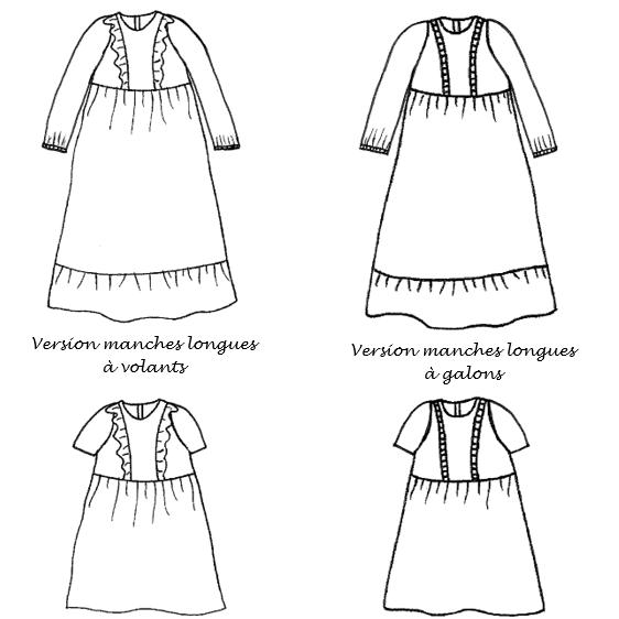"""Manches courtes ou longues pour la robe enfant """"Angeline"""""""