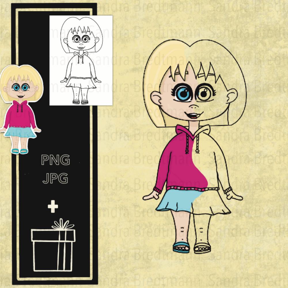 Mädchen mit Rock digi Stamp digitaler Stempel + Überraschung
