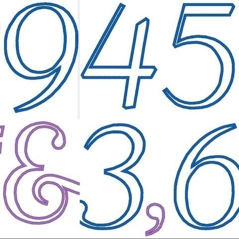Zahlen 15,5cm und Rechen Zeichen Stickdatei Mathe Vokabeln